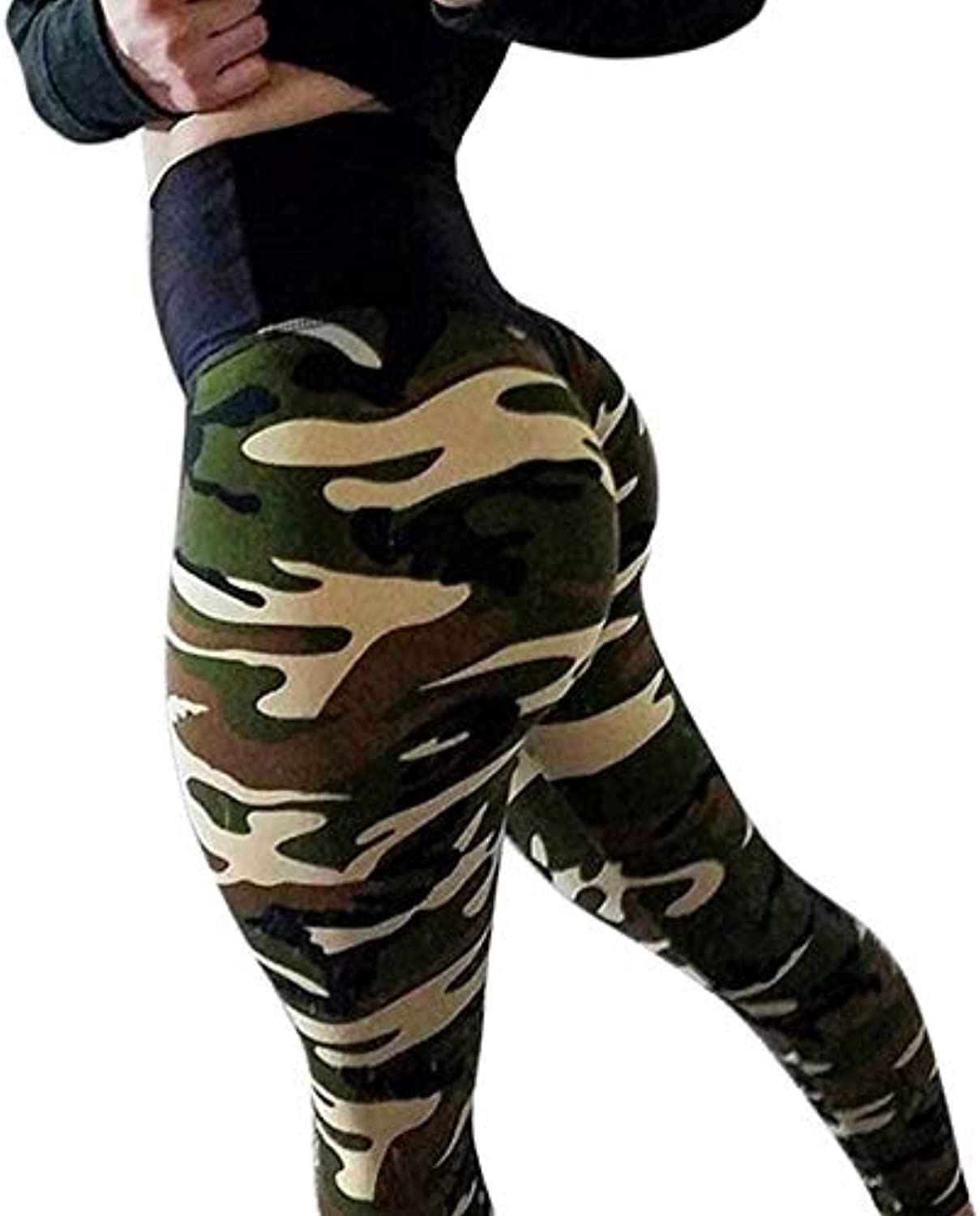 Loozykit Yoga Pants Women High Waist Sport Fitness Leggings Camouflage Patchwork Hip Exercise Trousers Slim Pencil Pants , L