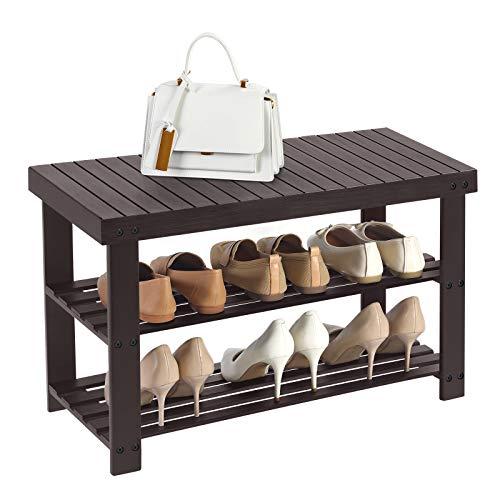 SONGMICS 3-Tier Bamboo Shoe Rack Bench, Shoe Organizer Shelf, Holds Up to 264 lb, Brown