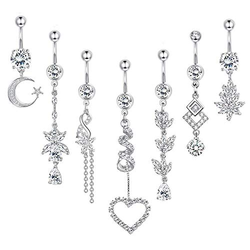 CASSIECA 7PCS 14G Stainless Steel Belly Button Rings for Women Dangle Navel Curved Barbell Rings CZ Body Piercing Jewelry