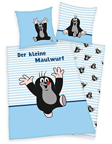 Klaus Herding GmbH Der kleine Maulwurf Kinder Bettwäsche 80x80 + 135x200cm 100% Baumwolle mit Reißverschluss