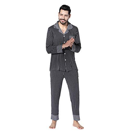 Atecou Herren traditionelles 2-teiliges Streifen-Pyjama-Set Langarm-Top & Hose...