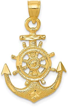 14k Yellow Gold Nautical Anchor Ship Wheel Mariners Pendant Charm Necklace Sea Shore Fine Jewelry product image