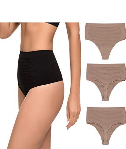 Pack de 3 Tanga Faja Reducción Ligera de Abdomen Mujer Sin Costuras Lycra. Braga Tanga Moldeador. (Vison, L/XL)