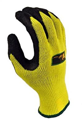 G & F 1516 Grip Master Heavy Textured, High Visibility Latex Coated Gloves, 2 Pairs Value Pack, Green