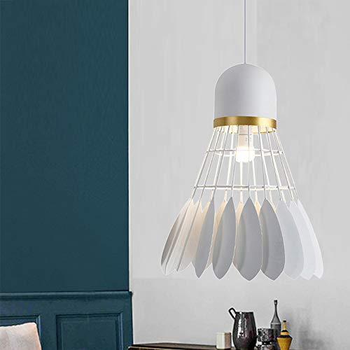 Mengjay Lámpara de techo Lámpara Colgante Blanco Moderno para la Sala Comedor Restaurante Iluminación colgantes de la forma de bádminton creativa nórdica