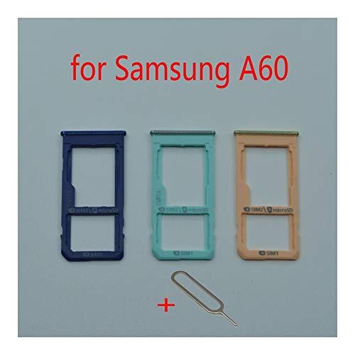 JLZK Buen Estado Teléfono Bandeja de Tarjeta SIM Ranura For Adaptador de Tarjeta SD Samsung Galaxy A60 A6060 Original Celular Micro Accesorios Holder Tarjetas. (Color : Light Blue)