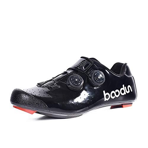 Zapatillas de Bicicleta Montaña Fibra Carbono Calzado Bicicleta Zapatos de Bicicleta Antideslizantes Transpirables para Hombres para Ciclismo Carretera de montaña A,Black,40