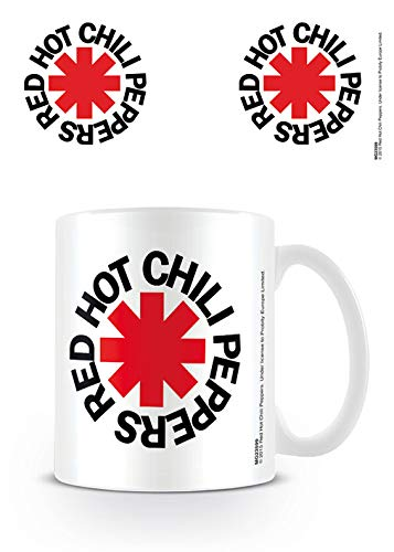 Red Hot Chili Peppers Logo en Color Blanco Taza de cerámica