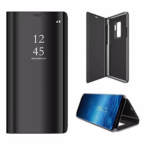 Yobby Spiegel Hülle für Samsung Galaxy S9,Samsung Galaxy S9 Handyhülle Technologie Überzug Durchsichtig Aussicht Fenster Stand PC Flip Cover Schlank Schutzhülle-Schwarz