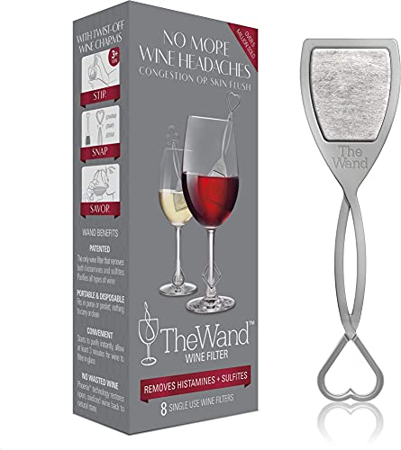 PureWine Wand Purifier Removes Histamines and Sulfites - Reduces Wine Allergies & Eliminates Headaches, Aerates Restoring Taste & Purity - Twist Off Wine Glass Charm Accessory Each Wand - Pack of 8