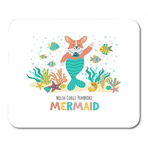 Mausemat Cardigan White Dog Cut Corgi Mit Der Aufschrift Mermaid Animal Cartoon Arbeiten Bunte Mousepad Game Mousepad Mouse Mat Office Gedruckte Schule Rutschfeste Spezial 25 X 30