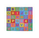 EUROXANTY® Alfombra Puzzle | Alfombra Infantil | Abecedario y números del 0-9 | Gran amortiguamiento | Fabricación en EVA l Baldosa de 30 x 30 cms