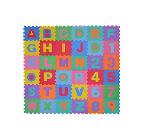 EUROXANTY Alfombra Puzzle | Alfombra Infantil | Abecedario y números del 0-9 | Gran amortiguamiento | Fabricación en EVA l Baldosa de 30 x 30 cms