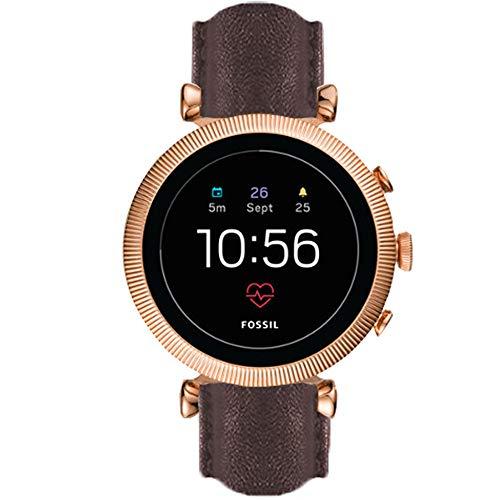 LvBu Armband Kompatibel mit Fossil Sloan HR, Quick Release Leder Classic Ersatz Uhrenarmband für Fossil GEN 4 Smartwatch - Sloan HR (Braun)