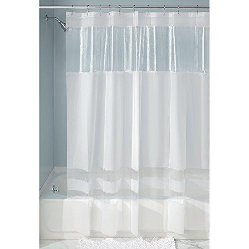 iDesign Stripes EVA/PEVA Duschvorhang aus EVA, wasserdichter Vorhang für Badewanne & Dusche in 183,0 cm x 183,0 cm, weiß/durchsichtig