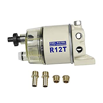 CARMOCAR Marine Fuel Water Separator/Diesel Fuel Filter/Water Separator for R12T MARINE SPIN-ON HOUSING 120AT NPT ZG1/4-19 Includes 2 fittings,2 plugs