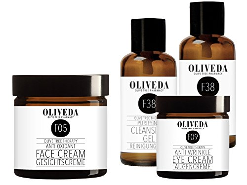 Oliveda F05 Gesichtscreme Anti Oxidant 50ml + F09 Augencreme 30ml + F38 Reinigungsgel 2x30ml