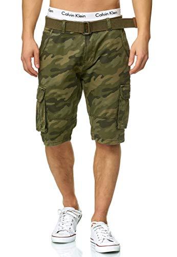 Indicode Homme Monroe Cargo ZA Short avec 6 Poches et Ceinture 100% Coton   Court Pantalon Bermuda été Homme Men Pants Pantalon Cargo d'été pour Homme Dired Camouflage M