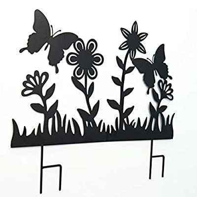 The Lakeside Collection Decorative Black Silhouette Metal Garden Fence Stake Cut-Out - Butterfly