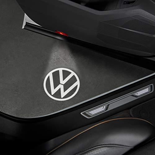 Volkswagen 000052120C - Luz de logotipo LED para panel de puerta con logotipo de VW en blanco y negro