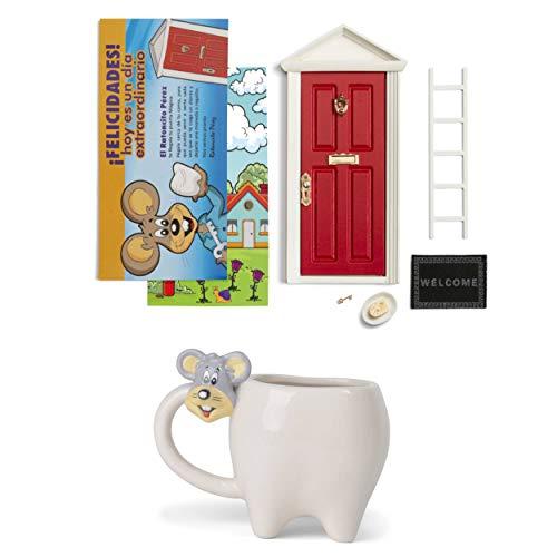 Muis Pérez Magische deur + kop voor kinderen + ladder + bord + kaas + voetmat + sleutel + deurmotief + wenskaart Azul Y Amarillo
