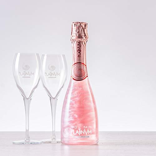 Espumoso Platinvm nº3 de Pétalos de Rosa y Naranja 375 ml. con dos copas - regalo día de la madre, San Valentín, cumpleaños, aniversario, celebración