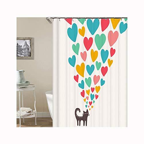 AueDsa Duschvorhang Polyester Waschbar Duschvorhang Schwer Wasserdicht Katze mit Liebe Herz Blau Gelb Weiß Duschvorhang Anti Schimmel Antibakteriell 165x180CM