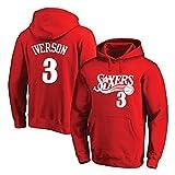 XGMJ Allen Iverson - Sudadera con capucha para hombre, diseño de Philadelphia 76ers # 3 con capucha, manga larga, otoñal, cómodo, color rojo y XL