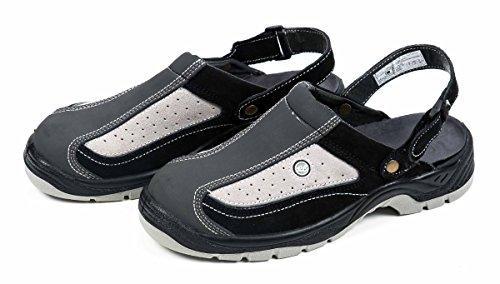 All Ride Sicherheitssandale, Clogs mit Klettverschluss, schwarz grau, Größe (43)