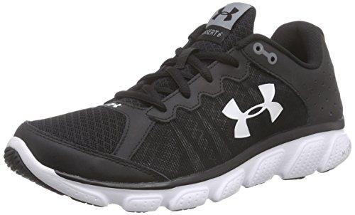 Under Armour Men's Micro G Assert 6 Running Shoe, Black (001)/White, 9.5