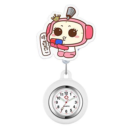 dihui Reloj Médico de Bolsillo Colgante,Reloj de Enfermera retráctil, Lindo Reloj de Silicona para Primo de Reloj de Pecho de Enfermera,Reloj de Enfermera Digital