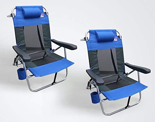 Outdoor Spectator Multi-Position Flat Folding Beach Chair (2-Pack) (Blue)
