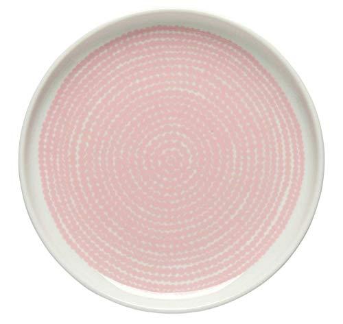 Marimekko - Teller, Frühstücksteller, Kuchenteller - Räsymatto - Steingut - weiß/rosa - D 13,5 cm