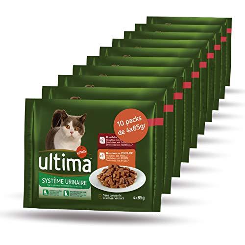Ultima Comida Húmeda para Gatos con Problemas del Tracto Urinario - Urinary - 10 multipacks de 4 x 85 g - Total 3,4 kg