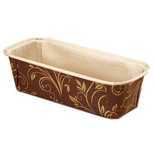 Premium Paper Baking Loaf Pan, Perfect for Chocolate Cake, Banana Bread, Medium, Brown & Gold, Set of 30pcs - by EcoBake