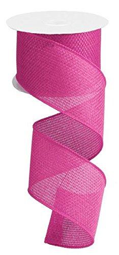 Cross Royal Burlap Wired Edge Ribbon - 2.5 x 10 Yards (Hot Pink)
