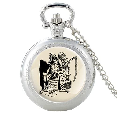 Clásico Padre Tiempo Diablo Ángel Plata Vintage Cuarzo Reloj de Bolsillo Hombres Mujeres Cristal Cúpula Colgante Collar Horas Reloj Regalos