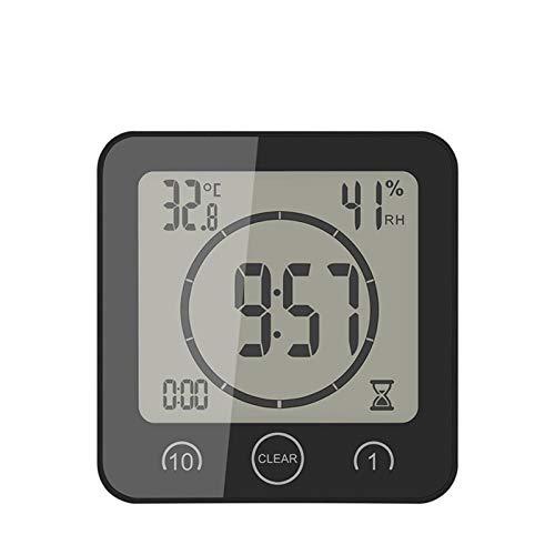 TYLJ MyBHD LCD Reloj de Pared Digital Impermeable Ducha baño Pared succión Reloj Temporizador Cuenta Regresiva Alarma Tiempo Temperatura Humedad medidor Reloj de Pared (Color : Black)