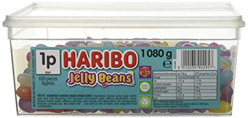 HARIBO Jelly Beans 1080g tub bulk vegetarian sweets