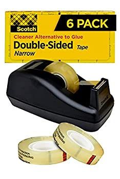 Scotch Double Sided Tape with Deluxe Desktop Tape Dispenser 1/2 in x 900 in 1 Dispenser and 6 Refill Rolls/Pack  665-6PKC40