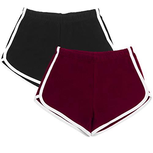 URATOT 2 Pack Yoga Short Pants Summer Running Athletic Shorts Women Dance Gym Workout Elastic Waist Shorts (Black, Jujube Red, XXX-Large)