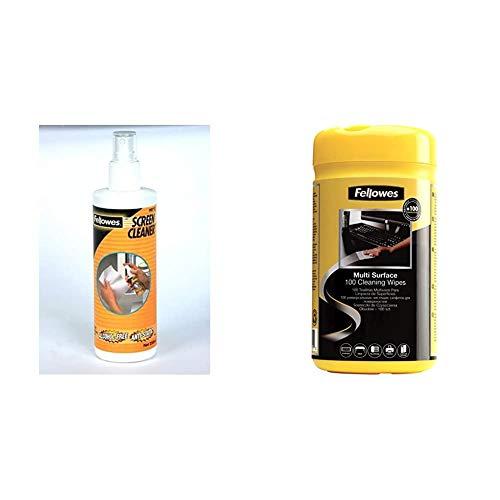 Fellowes 99718 - Spray limpiador pantallas ordenador, portátiles y escáner + 99715 - Dispensador 100 toallitas limpiadoras superficies