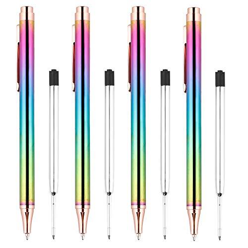 TOOGOO Druck Kugelschreiber, Luxus Regenbogen Click Metall Stift Schwarz Kugelschreiber 1,0 Mm für Schreibtisch Zubeh?R