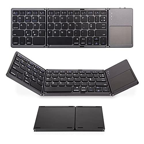 LJSF Teclado Plegable, Teclado Bluetooth, Teclado Inalámbrico Portátil Ultrafino, Teclado Compacto con Touchpad Multitoque Integrado, Compatible con Tablet y Otros Dispositivos,Negro