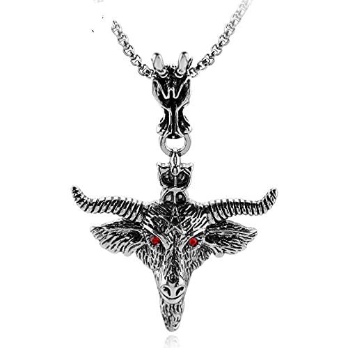 YUNMENG Baphomet Pentagrama Cabeza de Cabra Colgante Amuleto sabático Oculto Collar de Cabra de Ojos Rojos Retro joyería Ritual mágica pagana