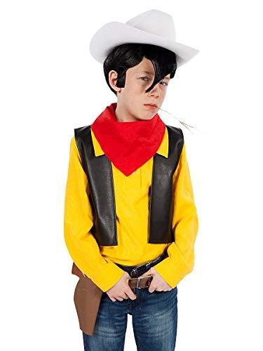 Maskworld Disfraz de Lucky Luke para Niños (de 4 Piezas) - Comic Cowboy Western (Tamaño: 122/128)
