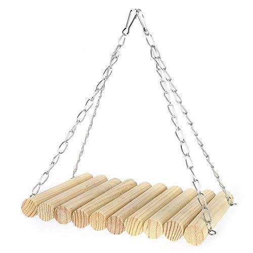 Ymiko houten natuurlijke hangende schommel 13 * 20cm streep ronde logschommel met hangende ketting rustend swingend leuk speelgoed voor vogelkooi, chinchilla, eekhoorns, papegaaien