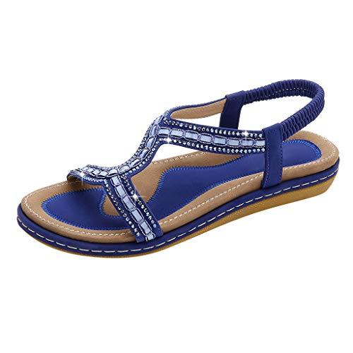 TIFIY Sandalen Sommer Damen Flache Schuhe böhmischen Sandalen Open Toe Gummiband Strand Sandalen Beiläufig Mode Hochschule Basic Arbeit Sommer Schuhe(Blau,37 EU)