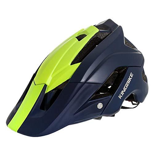 knowledgi - Casco de Bicicleta de montaña, Ultraligero, Ajustable, para Hombre y Mujer, con, Mujer Hombre, Azul Oscuro