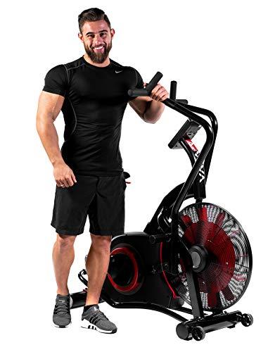 AsVIVA Heimtrainer,Ergometer Air-Bike Pro, Turbinen Trainer mit Riemenantrieb, Fitnesscomputer mit 7 Trainingsprogrammen, Herzfrequenzmesser, integrierter Pulsempfänger